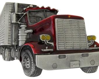 Semi Truck Tractor Box Van Trailer Longnose 18 wheeler Over the Road Belt Buckle