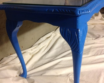 Hand painted, glass topped table, aquarium stand, occasional table, coffee table