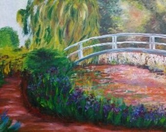 "Claude Monet's painting ""garden Bridge""."