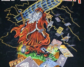 ON SALE - RARE Vintage 1980's Led Zeppelin Wizard Classic Rock Music Concert Tour Copyright 1989