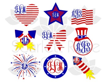American Patriotic Monogram frame SVG cut file for silhouette cameo and cricut
