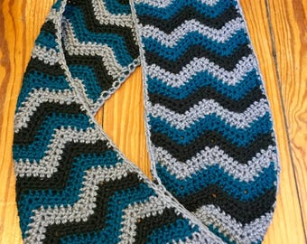Chevron Striped Crochet Spring Infinity Scarf
