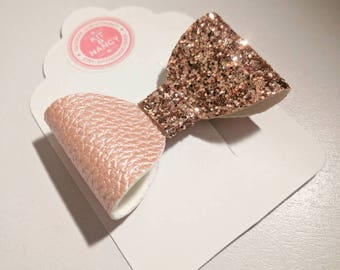 HANDMADE // Rose Gold Glitter Half & Half Bow // Pale Pink Bow // Large Glitter Bow // Hair Bows // Girls Hair Bows // Spring Bow // Bows