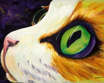nice kitty, cat, calico, pet portrait, animal art, DanutasBrush, purple, orange, green eyes