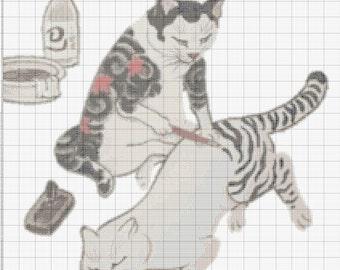 Tattoo Cats Cross Stitch Pattern