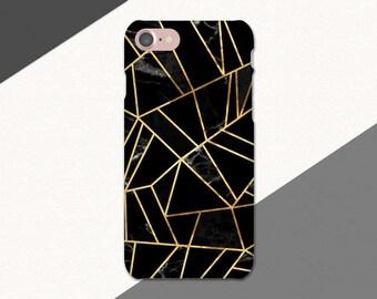 Black Marble Phone Case, Gold Geometric Phone Case,Black Marble iPhone 6 Case, iPhone 7 Case Marble, iPhone SE Case, iPhone 6S Plus, 6 Plus
