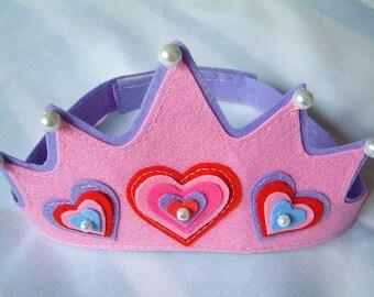 Princess Crown, Personalized Girl Birthday Crown, Girl Party Crown, Handmade Felt Crown