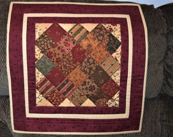 Table Topper, Mini wall quilt  Country Burgundy,Gold, Cream,Brown and Green ,table runner