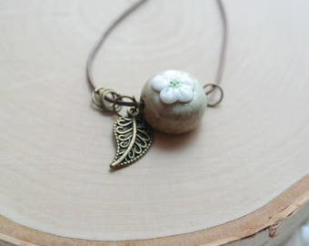 Ceramic Flower Leaf Pendant Necklace Waxed Linen Cord Necklace For Women/ Girls Jewelry