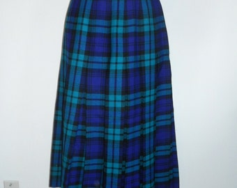Vintage Tartan Skirt ~1980's Opulence Skirtmakers  Pleated Skirt ~ Wool Skirt ~ Green Purple Black Plaid Tartan Skirt ~ Plaid Skirt