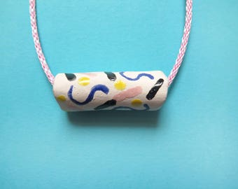 Statement necklace, ceramic necklace, clay necklace, tube bead, fun, memphis design inspired, colour block necklace