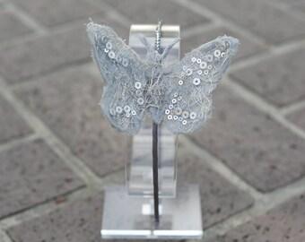 Silver butterfly headband