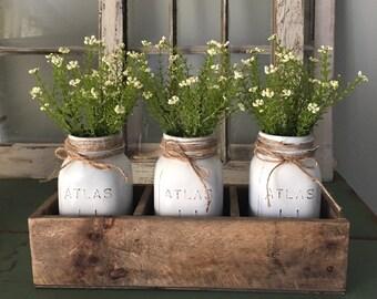 Rustic wood box,planter box, atlas mason jars, centerpiece, handmade, decorative jars, shabby chic, farmhouse decor,floral,wedding decor