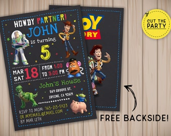Toy Story invitation, Toy Story birthday invitation, Toy Story chalkboard invitation, Toy Story party invitation