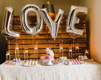 40 Inch LOVE Balloons / Giant Jumbo Letters / Engagement Party/ Wedding / Bridal Shower / Silver / Mylar Foil/ Balloons/ LOVE