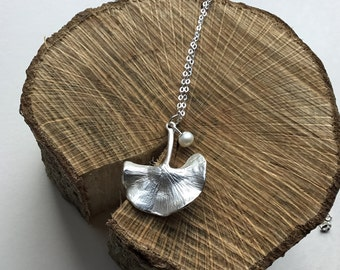 Silver Ginkgo Leaf pendant and pearl charm , pearl necklace, flower pendant , charm necklace, pearl anniversary