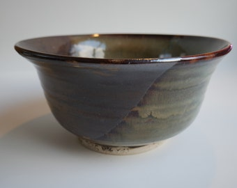Green and brown serving bowl