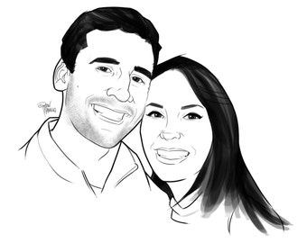 Custom Couples Portrait, Custom Couples Illustration, Digital Illustration, Valentines Day, Illustration, Digital Art Couples, Engagement
