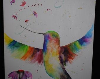 Colibri watercolor on canvas
