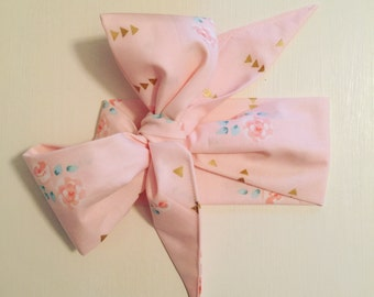 Pretty in Pink Floral & Arrow Big Bow Headwrap