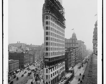 Vintage photograph-fine art black and white NYC Flatiron Building 1902 construction-fine print