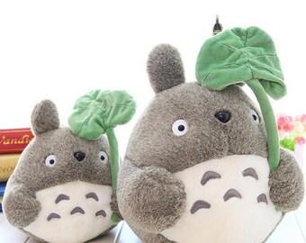 Cute Grey Totoro Stuffed Plush Animal Toy with Leaf