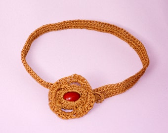 Necklace made of waxed thread - ethnic - hippie - natural - EXOTIQUE