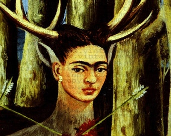 MEXICAN ART Frida Kahlo Painting Fabric Block Print FKFB054.