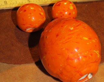 Three Vintage Macrame Beads, Orange