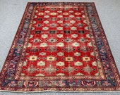 Handmade persian  antique, oriental rug, floral design, wool rug, candy and rose red, light blue, pink and black colors.  size   6.4′ X 9.7′