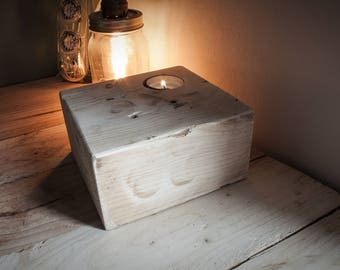 Rustic Candle Holder Wood Chock