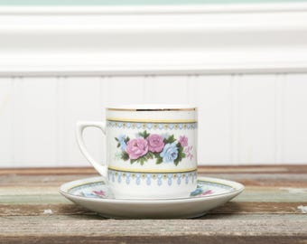 Tea Party Cup Vintage C. ART HK Demitasse Cup and Saucer made in China Rare Floral Rose Pattern circa 1970