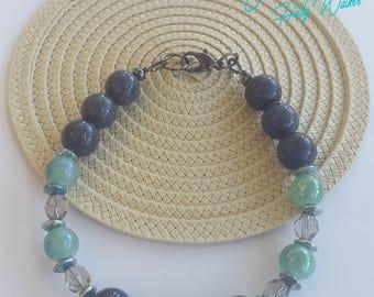 Bracelet, Beaded Bracelet, Lobster Clasp, Czech Glass, Stone Beads, Stackable, Green, Black, Hematite, Gray, Fashion Jewelry, Gift