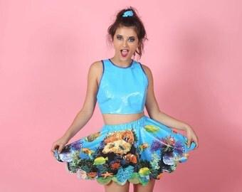 MERBABE Blue PVC Skirt