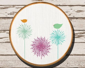 Modern Cross Stitch Pattern counted cross stitch pattern easy cross stitch pattern dandilion bird simple cross stich pattern