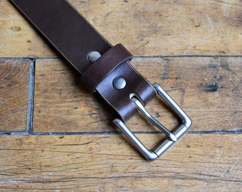 Classic Men's Leather Belt (Brown). Handmade in the USA. Silver Plated Brass Buckle. Full Grain, Veg Tanned Leather, Free Personalization.