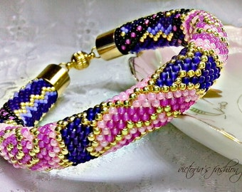 Night flower - Classic Bead Crochet Bracelet Beaded Bracelet Beadwork Bracelet Multi-Colored Colorful Beadwork Jewelry