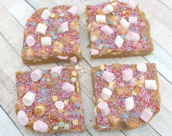 Chocolate biscuit slices, marshmallow rocky road, chocolate treat, birthday gift, edible gift, weekend treat, foodie gift, sprinkles,
