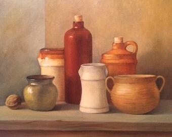 Original Painting - Still Life - with pottery - Irish Art - Oil Painting - Fine Art Painting