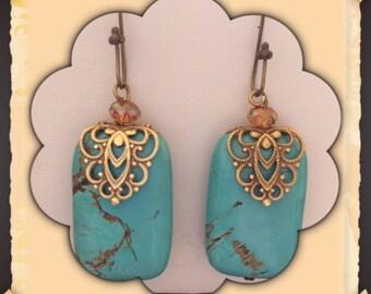 Oval print, rectangle magnesite earrings.