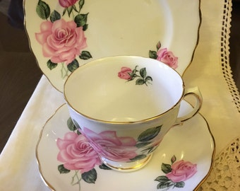 Vintage Pink Roses - Royal Vale- Pattern RVA23 - Gold scalloped edge - Vintage Tea Cup Trio Cup/saucer/ tea plate c.1960