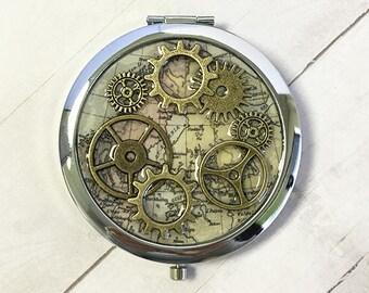 Compact Mirror, Steampunk Mirror, Steampunk hand mirror, pocket mirror, steampunk gear, gift for her, gift for him, Best Friend Gift