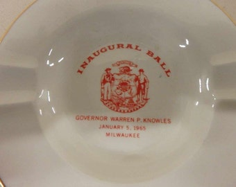 Vintage 1965 Ceramic Ashtray Inaugural Ball Milwaukee Governer Warren Knowles