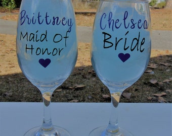 bridesmaid glasses, maid of honor wine glass, wedding gifts, will you be my bridesmade, wine glass