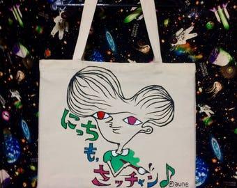 Painter aune's original character hand-painted tote bag !!