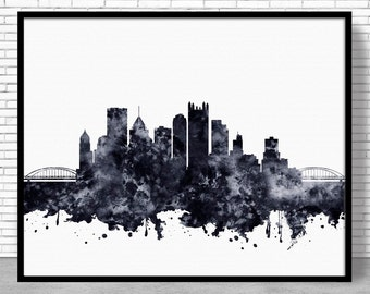 Pittsburgh Print, Pittsburgh Skyline, Pittsburgh Pennsylvania, Office Decor, City Skyline Prints, Skyline Art, Cityscape Art, ArtPrintZone