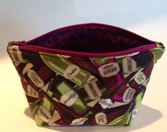 Makeup Bag in Wine Themed Fabric