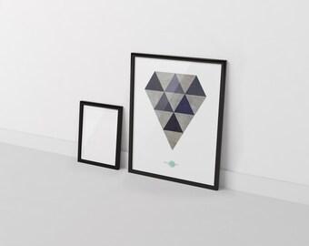 Blue Diamond-Diamond Wall Art-Diamond Art Decor-Blue Wall Art-Geometric Wall Art-Geometric Art Prints-Minimalist Decor-Modern Abstract-