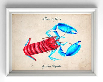 Lobster poster, Lobster print, Nautical print, Nautical art, Nautical decor, Nautical poster, Wall art, Lobster art, Wall hanging, Wall
