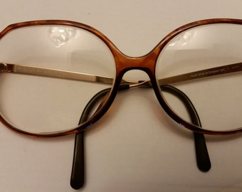 Oversized 80s / 90s eyeglasses - plastic tortoiseshell gold color metal arms Elaine Seinfled